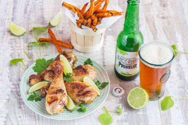 Pilons de Poulet marinés à la Bière Licorne Primeur et au Citron vert, Frites de légumes via @cuisineaddict