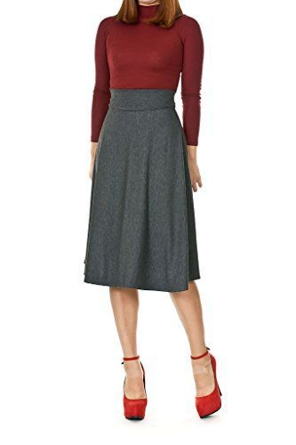 Dani's Choice Stretch High Waist A-line Flared Long Skirt (XXL, Gray)