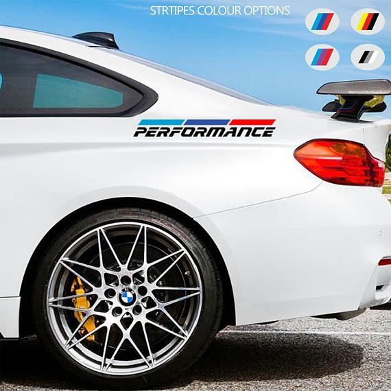 2 x bmw performance sport car vinyl sticker bumper window side jdm decal graphic