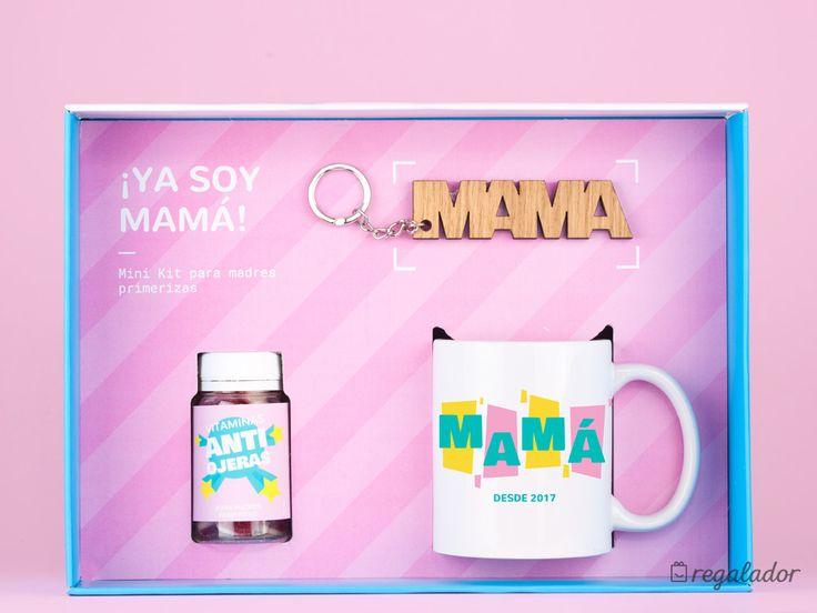 """Mini kit para madres primerizas - Versión: Mamá desde 2018 Incluye: 1 taza """"mamá desde 2018"""", 1 bote de gominolas """"Vitaminas anti ojeras"""" y un llavero de mamá."""