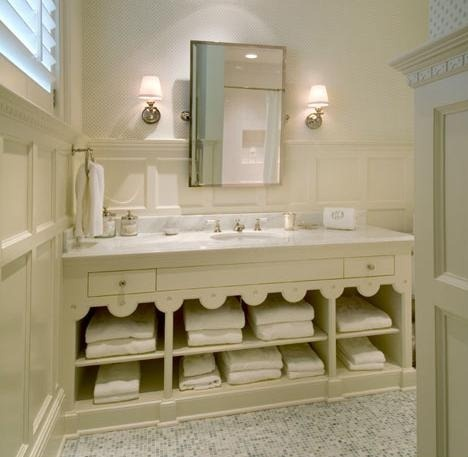 Scalloped Cabinet Paneling On The Wall Bathrooms Pinterest Scallops Towels And Counter