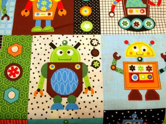 Robot fabric fun pillowcase or quilt rocking robots for Robot quilt fabric