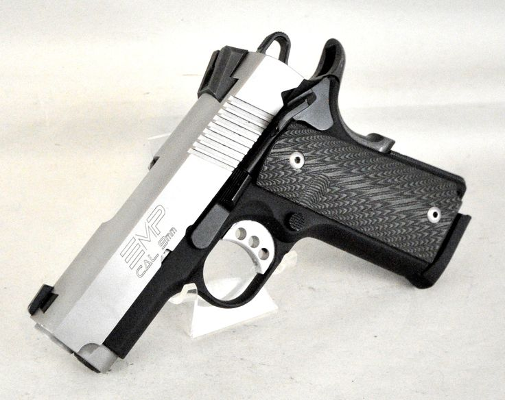 """Springfield EMP 9mm. P19210LP. The EMP (Enhanced Micro Pistol) from Springfield Armory is a compact 1911 pistol, ideal for CCW. This bi-tone model features a forged aluminum alloy, black hardcoat anodized frame; forged stainless steel, satin finished slide; stainless steel match grade bull barrel; and low profile combat 3-dot Tritium night sights. G10 grips. 8+1 capacity of 9mm. 3"""" barrel. 27 oz. [Pre-Owned] $799.99"""