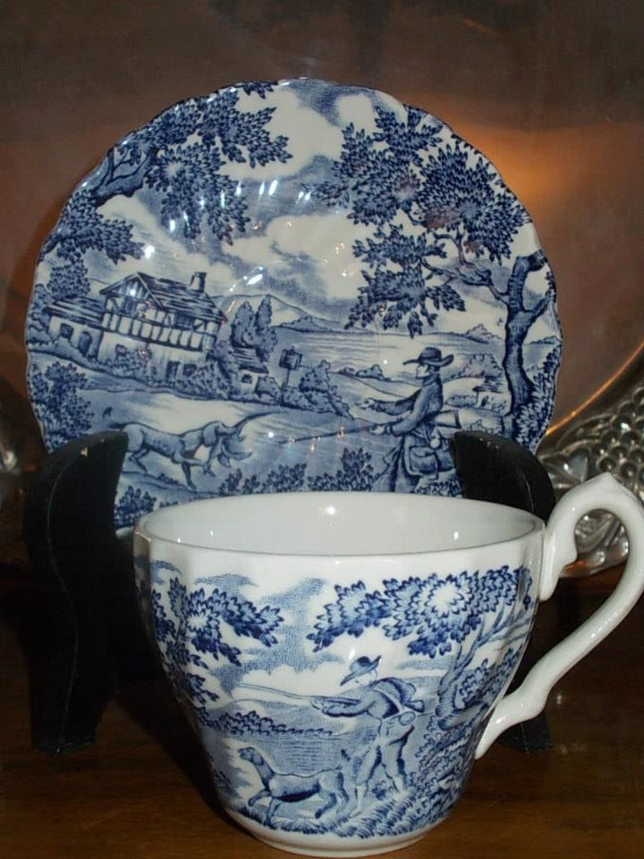 The Myott  by the collection ''THE HUNTER''.A fine porcelain rare antique set composed of one plate and one cup by StrangeAttachments on Etsy