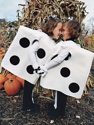 Square cardboard boxes transform into darling dice costumes when covered in white and black fabric. http://www.parents.com/holiday/halloween/costumes/kids-handmade-halloween-costumes/?socsrc=pmmpin092112HWCDarlingDice#page=11