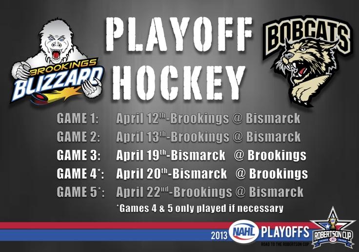 Brookings Blizzard Playoff hockey schedule