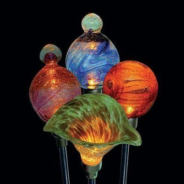 How Does Your Garden Glow? Light Up Your Garden Or Pathway With These  Gorgeous Hand Blown Cracked Glass Solar Lighted Flower Stakes.