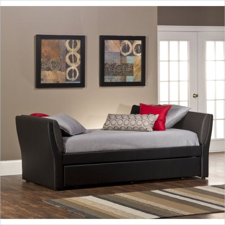 Hillsdale Natalie Daybed with Trundle in Black - Good tall sides, with no  back=more room to spread out, while using as a couch as well (comfortable  side ...