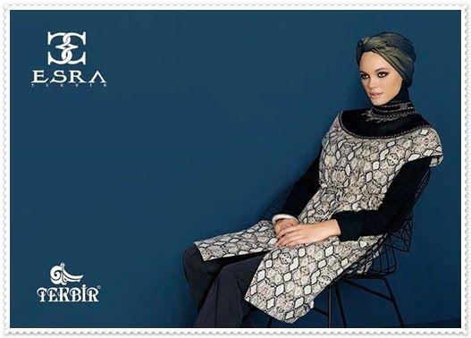 Esra Tekbir kabartma motifli siyah -beyaz tunik modeli