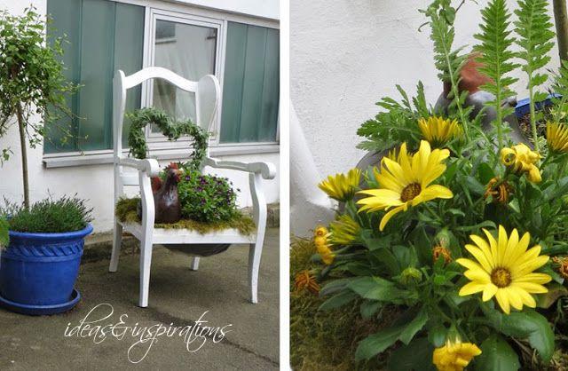 Ideas and Inspirations: Holzstühle als Garten dekoration * wooden chairs and garden decorations