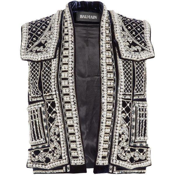 Balmain Embellished velvet vest ($8,266) ❤ liked on Polyvore featuring outerwear, vests, jackets, balmain, tops, beaded vest, black vest, velvet waistcoat, vest waistcoat and velvet vest