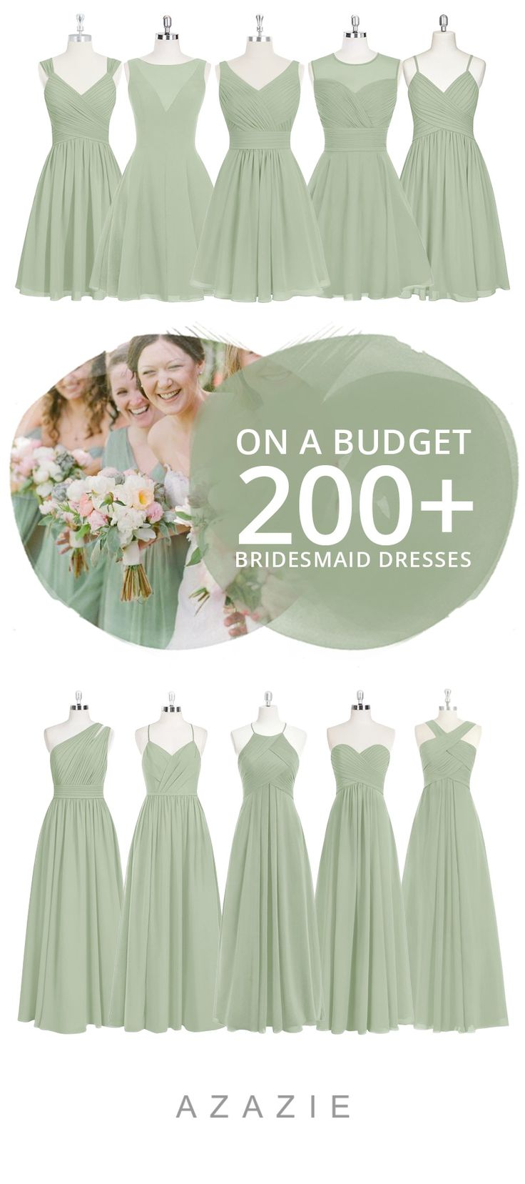 Dress your bridesmaid in this romantic soft green! Available in sizes 0-30 and free custom sizing! Every woman deserves their dream dress, that fits right while still being budget friendly!