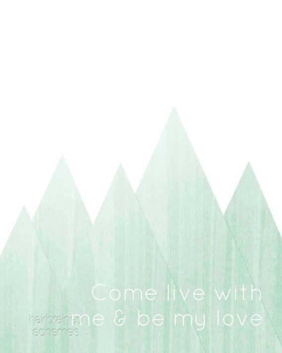 Minimalist Mint Green Ombre Love Mountain Typography Art Print - Tribal Southwest Faux Bois WoodgrainMountain Poster - Geometric Triangle on Etsy, $15.00