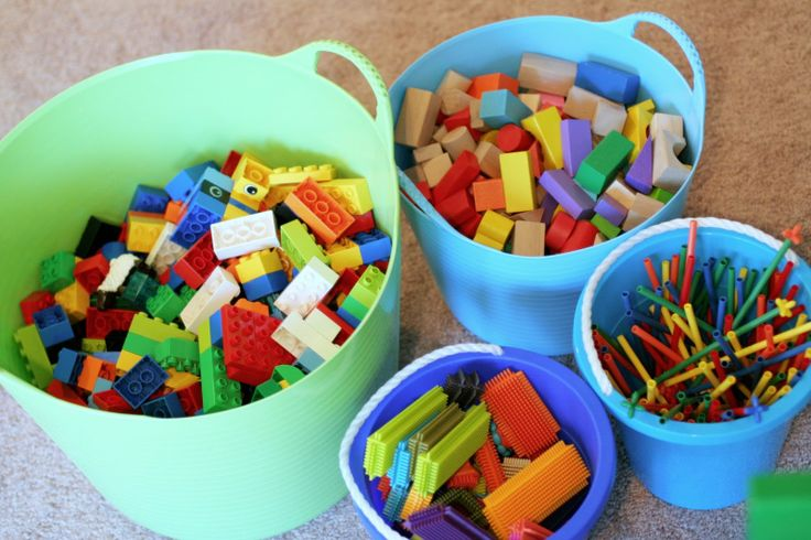 Building toys in buckets