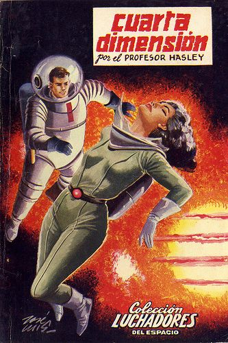 I found this amazing 1950's Spanish Sci-Fi Novel group on Flickr. I love these illustrations! My favorites are below.