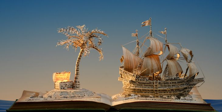 Su Blackwell - Treasure Island, 2013, created using reclaimed materials
