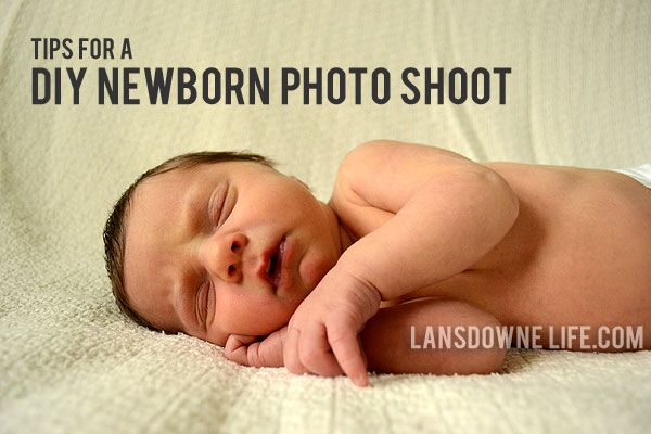 Practical tips for setting up your own DIY newborn photography session, including how to keep baby calm and how to set up the photo area and backdrop.