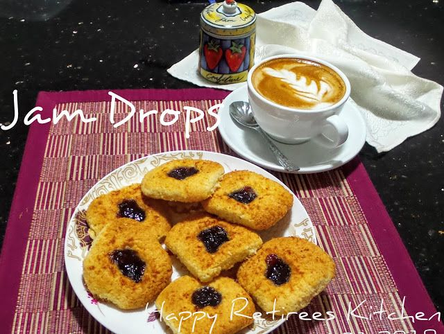 Happy Retiree's Kitchen: Strawberry Jam Drops, a weekend biscuit treat #biscuit #retro recipes #strawberry jam
