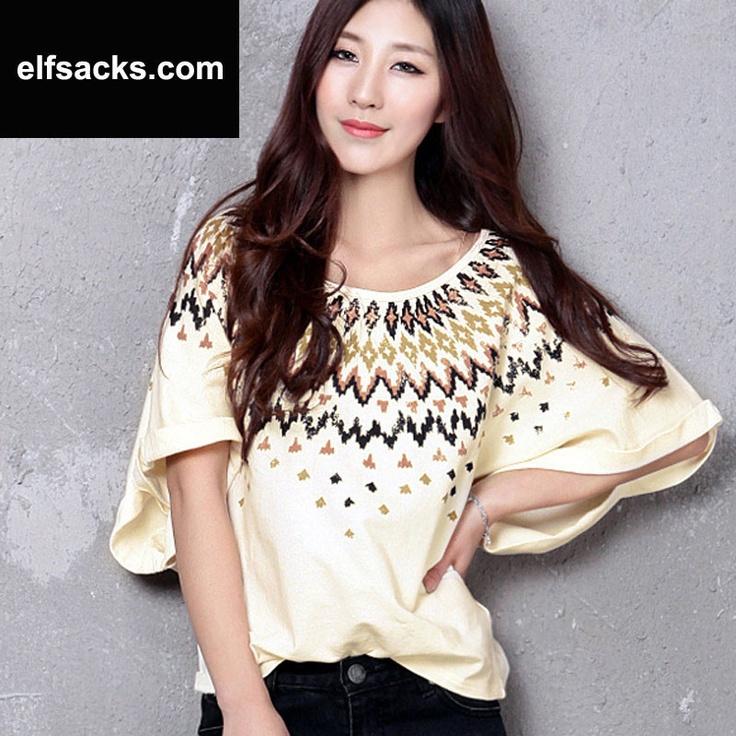 Womens Round Collar Batwing Short Sleeve Yellow Tshirt
