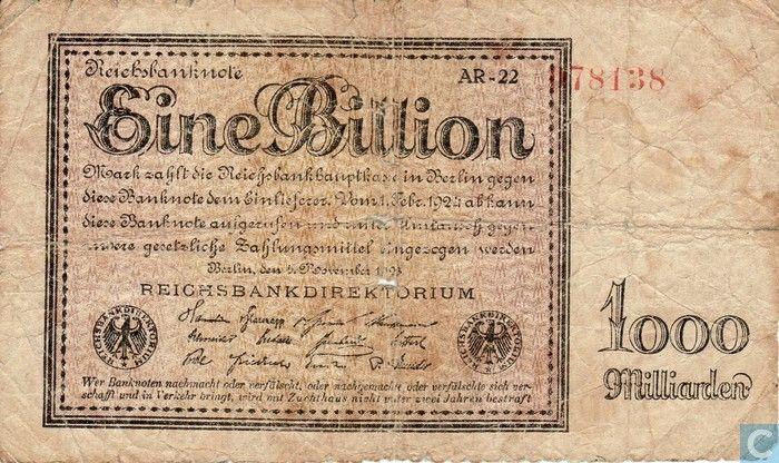 chèquier arabe | Mark 1000000000000 bankbiljet - Duitsland - 1923 verzamelen? Catalogus ...