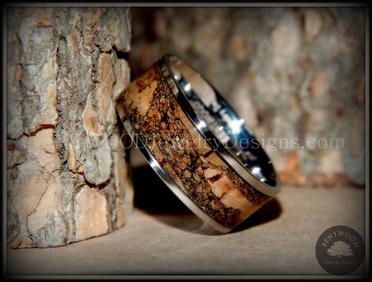 "Bentwood Ring - ""Figured Brown"" Rare Mediterranean Oak Burl Wood Ring with Surgical Grade Stainless Steel Comfort Fit Metal Core - Bentwood Jewelry Designs - Custom Handcrafted Bentwood Wood Rings  - 3"