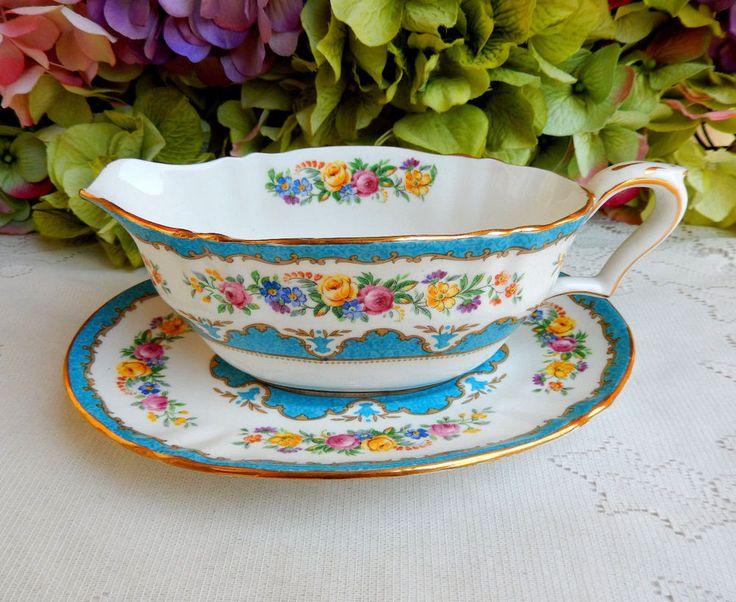 Vintage Crown Staffordshire Porcelain Sauce Boat ~ Lyric Tunis Blue Rose Gold #CrownStaffordshire