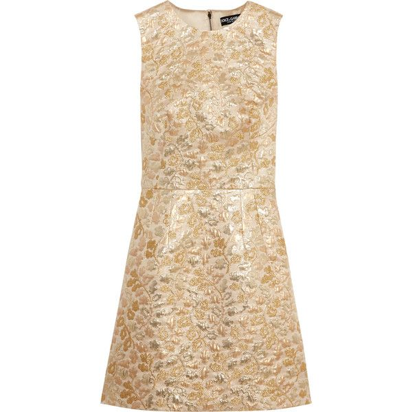 Dolce & Gabbana Metallic brocade mini dress ($1,145) ❤ liked on Polyvore featuring dresses, gold, floral dress, floral mini dress, a line cocktail dress, short floral dresses and beige cocktail dress