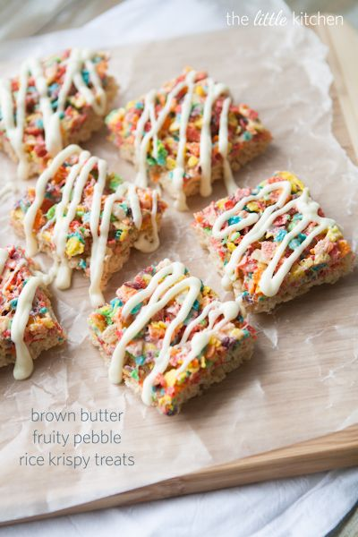 Brown Butter Fruity Pebble Rice Krispy Treats from The Little Kitchen: Food Rice, Fruity Pebble Rice Krispie, Butter Fruity, St. Patrick'S Day, Rainbows Treats, Krispie Treats, Little Kitchens, Brown Butter, Desserts Tables