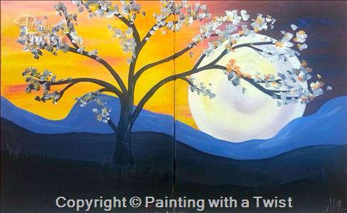 Midnight Mountain Moon Couples   Painting With A Twist #PWAT  #PaintingWithATwist