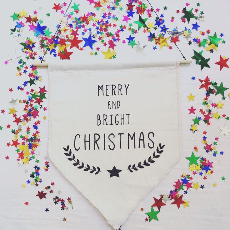 Screenprint bunting. Christmas bunting . Banderín navidad estampado a mano