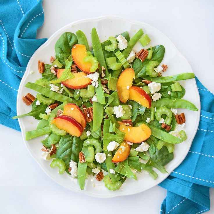 6 Star Waldorf Salad, p 133 of #simplicious, which uses gorgeous peaches and pecans instead of apples and walnuts. A beautiful light lunch.