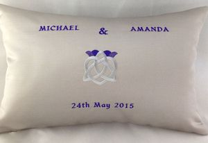 CELTIC THISTLE  Bespoke embroidered wedding cushion.