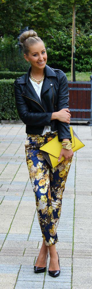 Cute flower print pants! Love the yellow clutch.