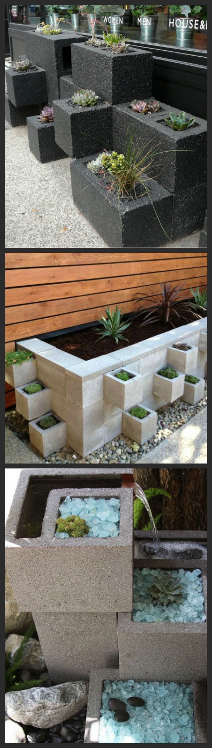These urban gardens are...straight-forward enough to make with some liquid nails, gravel, soil, some mesh or other blocking material for the open bottoms, and easy-to-care for succulents and ornamental grasses | via Saf Affect