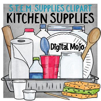 This clip art set contains common household items or supplies found in the kitchen, used for various S.T.E.M. challenges or activities.  The set contains a 2-liter jug, half gallon jug, gallon jug, Ziploc bag, bendy and straight straw, paper bowl, paper plate, brown bag lunch sack, cupcake liner, aluminum foil, foil pan, jar, paper towels, paper towel roll, plastic spoon, plastic wrap, red cup, sample cup, small cup, scale, a sponge, toothpick, water bottle, and wooden spoon. $12.00
