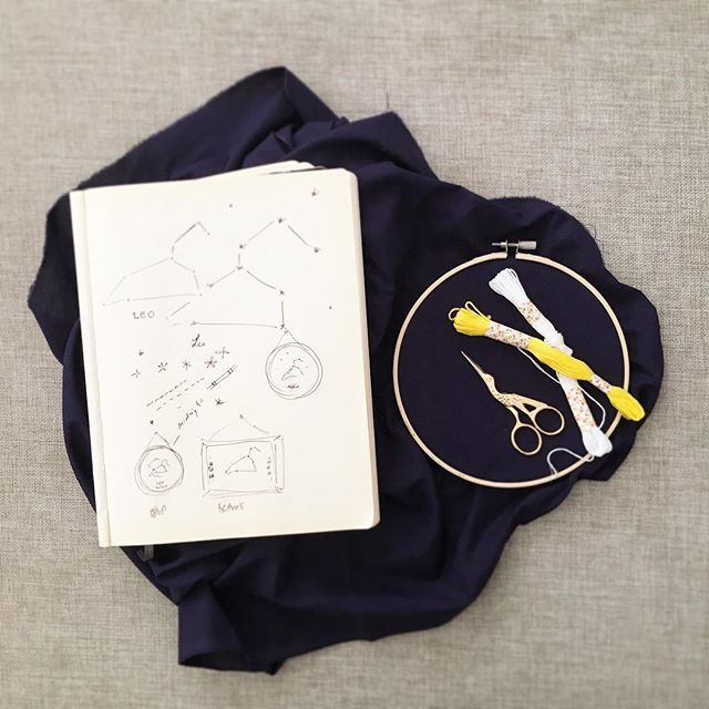 〰 New embroidery art in the making 〰  #constellation #embroidery #hoopart #frame #print #navy