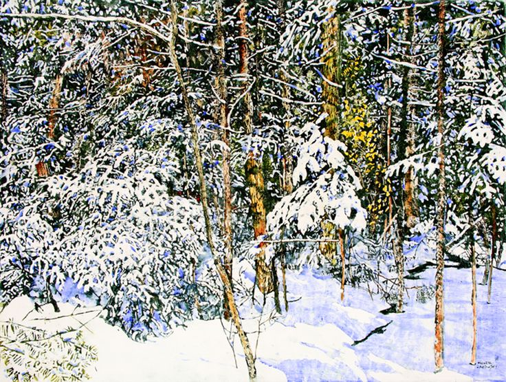 "micheal zarowsky  overnight snowfall 24     36"" x 48""  watercolour painted directly on gessoed birch panel"