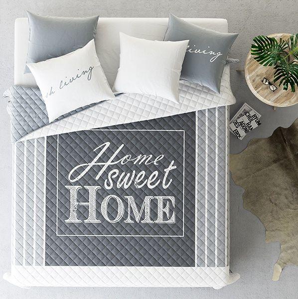 Home Sweet Home szare narzuty pikowane na łóżko