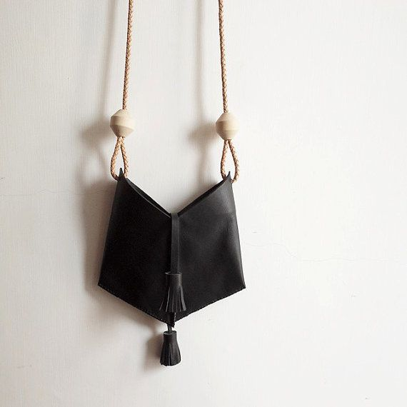 Cow leather crossbody bag in black with tassels and leather STRAP and oversize wood bead  hand stitched  Hight qualitty leather