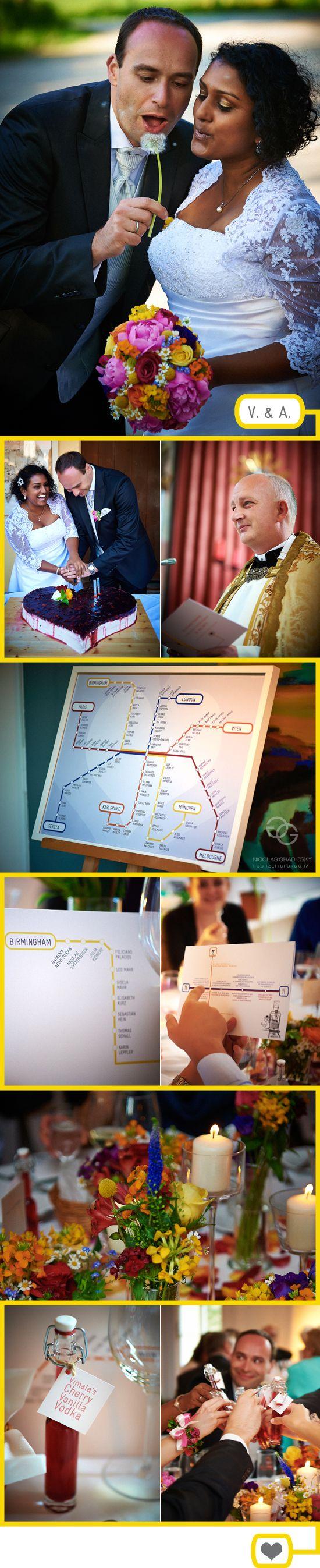 Hochzeitskonzept mit buntem Netzplan