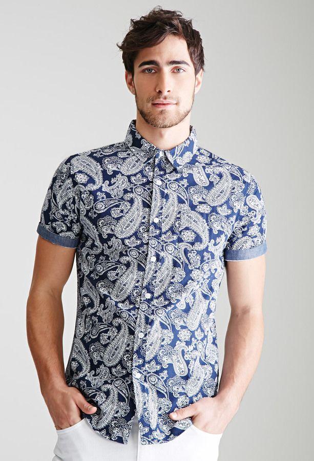21 MEN Chambray-Trimmed Paisley Shirt