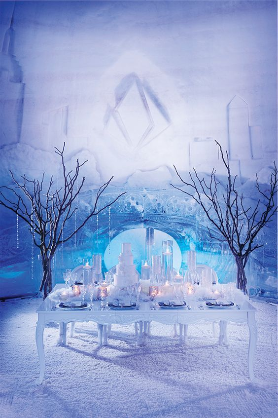 crystal garlands and faux snow with candles will help you to create an ambience