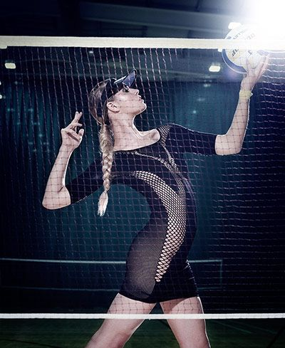 Faster by Mark Fast Dress, £240 urbanoutfitters.co.uk || Visor, £8 riverisland.com || Volleyball, £2.99 sportsdirect.com || Model: Annie McGinty, Ph: Richard Grassie