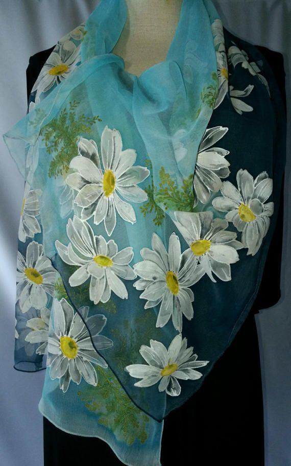 Shawl.Natural silk shawl  floral daisies navy blue pale