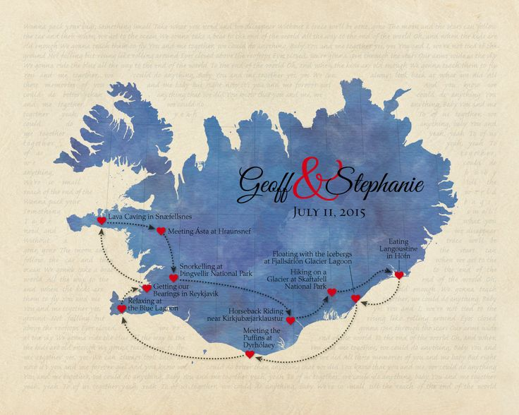 Personalized Iceland Map, Custom Anniversary Gift, Wedding Present, Song Lyric Print, Destination Wedding Keepsake, Honeymoon Memento by KeepsakeMaps on Etsy