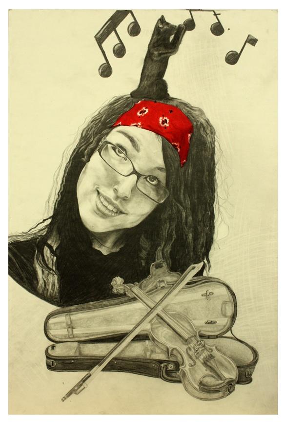 Dessin autoportrait réalisé à l'automne 2012 par Myriam St-Pierre Lafontaine, étudiante de première année.