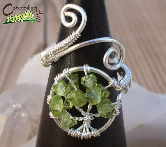 Peridot Tree of Life Ring - Tree of Life Jewelry - Wire Wrapped Ring - Made to Order - Silver Plated