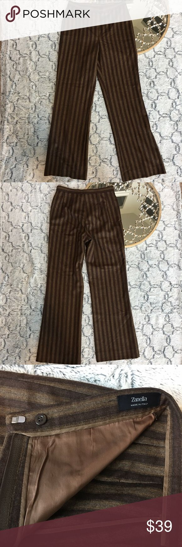 Zanella 100% Virgin Wool Women's Sz 8 Brown Slacks High waist, partial lining inside of pants. Great condition. No pockets front or back. Zanella Pants Trousers