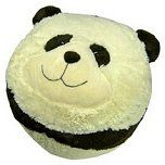 Adorable, comfy, fun and friendly are words kids would say about this pouf ottoman. The panda cover is made of 100% polyester and has elastic on the bottom so it can easily removed for washing . The bean bag bottom is filled with polystyrene beads for comfort and light weight use. Kids like to sit on this panda, put their feet on him, lay over him, etc., and however they use this panda, he is a wonderful addition to any room in your home.