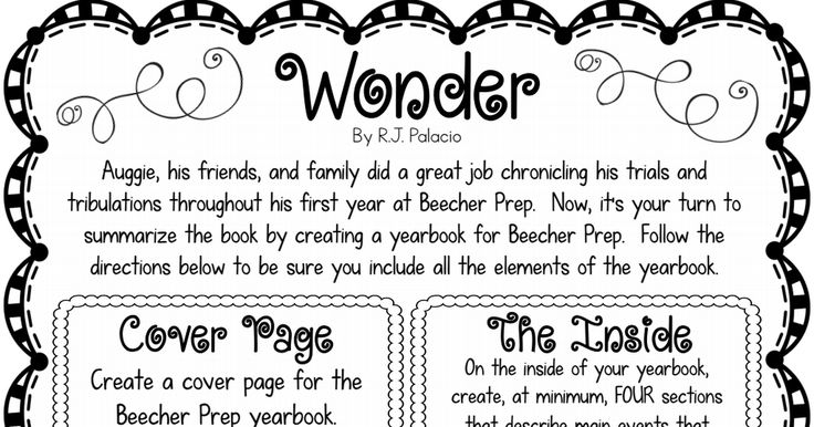 Wonder Book Report Project Pdf Wonder Book Book Report Middle School Reading